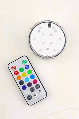 RGB LED Submersible Lights, Remote Control, Battery Op. 2-3/4""