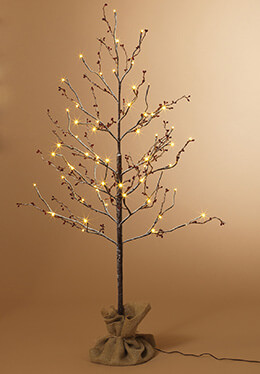 Snow Covered Birch with Berries LED 4ft Artificial Trees