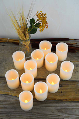 12 LED Wax Votive Candles 2x2.5in