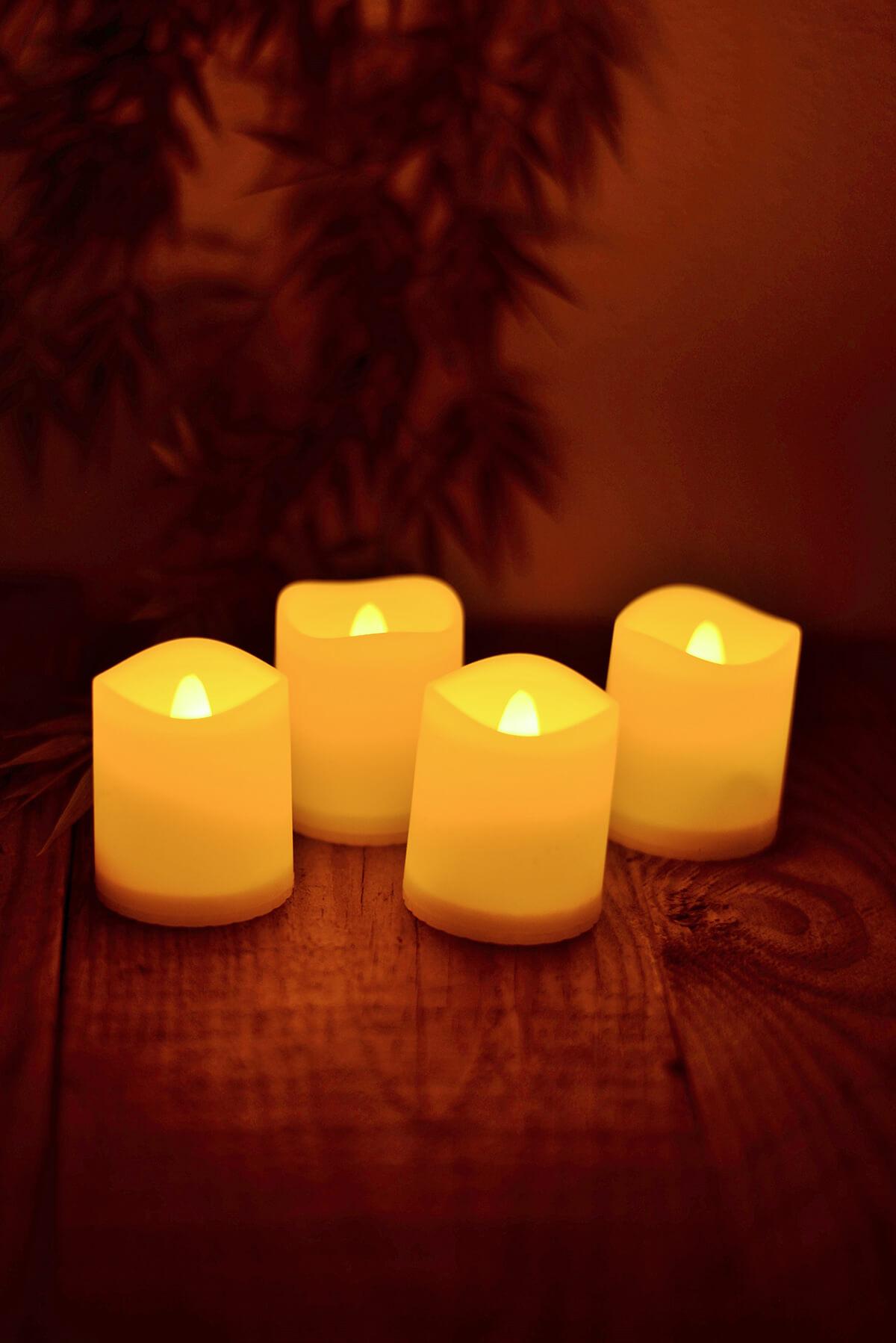 LED Votive Candles Ivory Set Of 4
