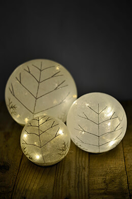 "3 LED Frosted Glass 8"" Orbs  9"", 6"" & 5"""