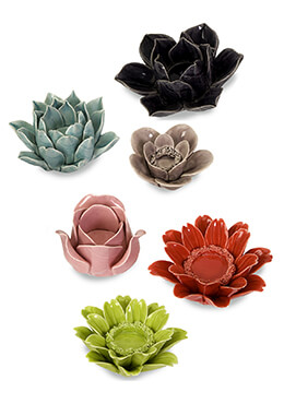 Leona Assorted Flower Candle Holders (Set of 6)
