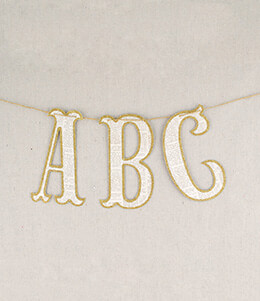 Vintage Style Glitter Letters Banner (45 letters)