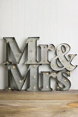 Mr & Mrs Marquee Lighted Sign, Battery Op.