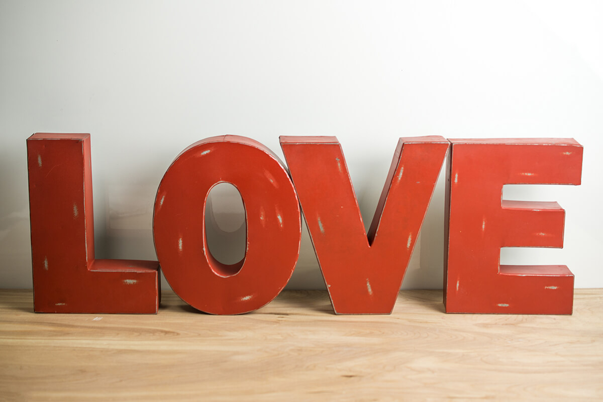 Red Metal LOVE Letters  44in Display