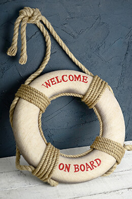"""Welcome on Board""  Life Preserver  18in"