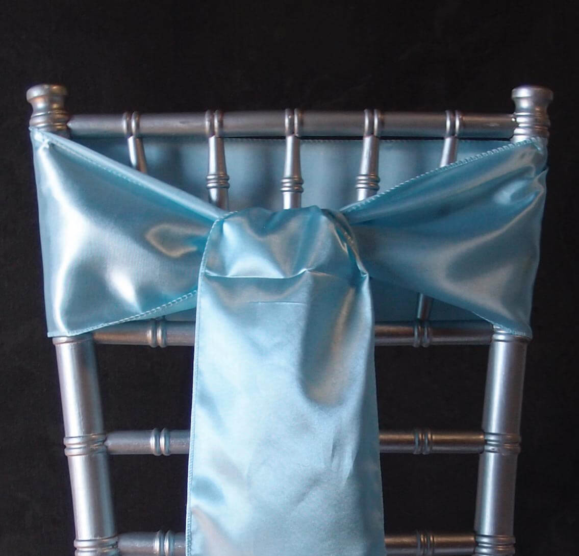 10 Light Blue Satin Chair Sashes 6x106