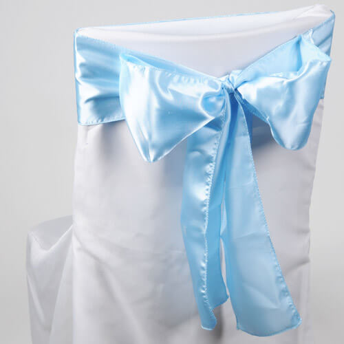 Light Blue Satin Chair Sashes (Pack of 10)