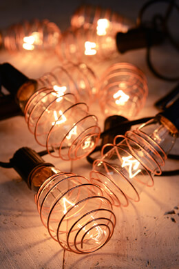 Cleveland Vintage Lighting™ Copper Plated Edison Bulb Light Set - 10 feet