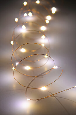 Copper Wire Outdoor Battery Operated LED Light String, 10'	Warm White