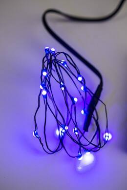 Everlasting Glow LED Micro Purple Light String 18 LEDs,  Battery Operated, Timer, Black Wire