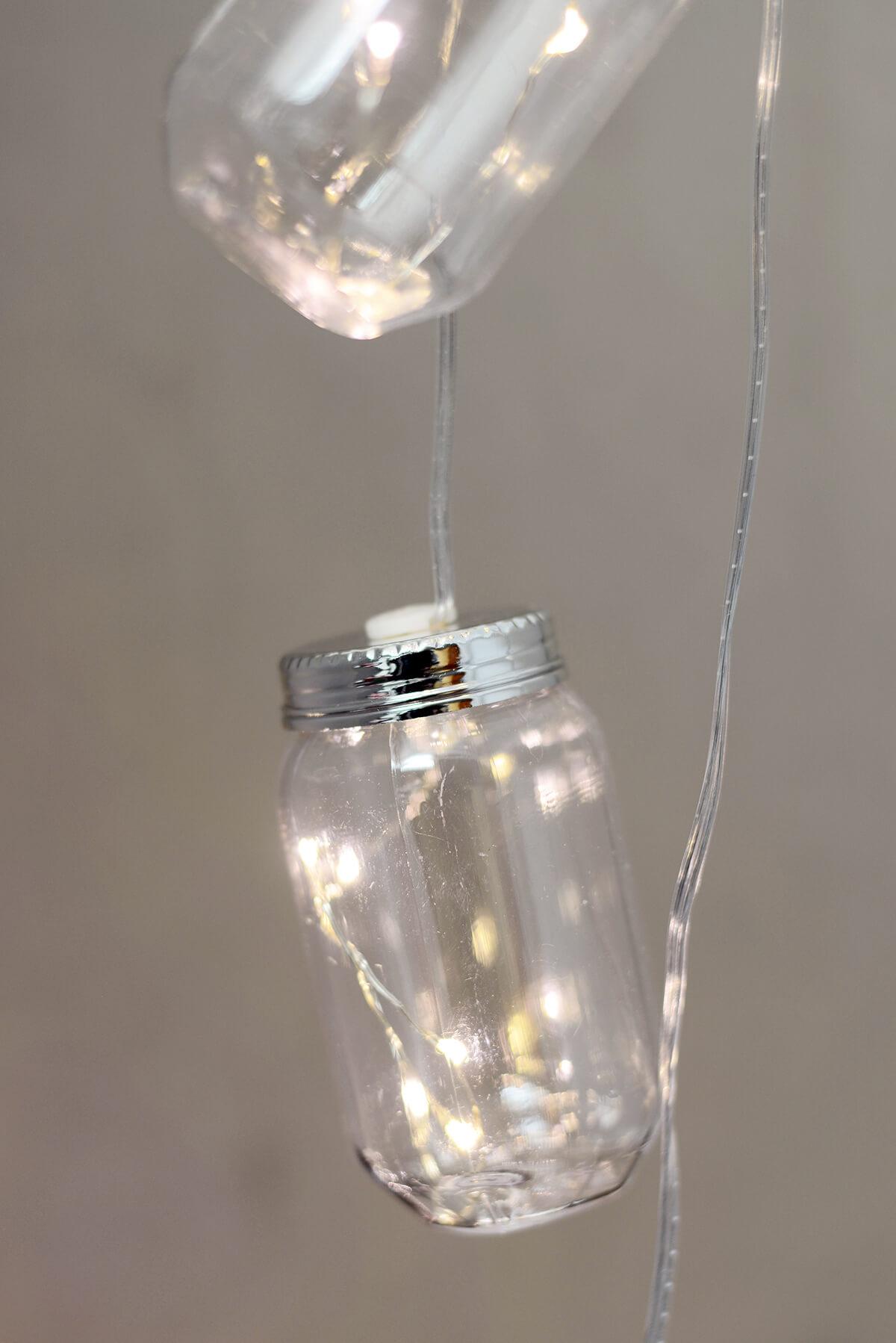 Mason Jar String Lights Battery Op., 10ct 11FT LED