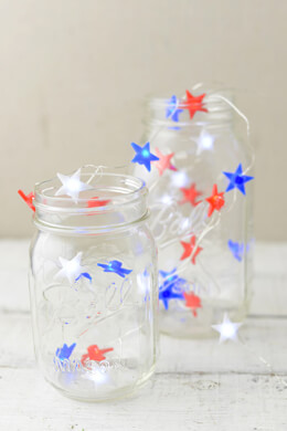 Everlasting Glow Red, White & Blue Star Shaped LED Mini String Lights , Battery Op, 30 LED, 9 Ft