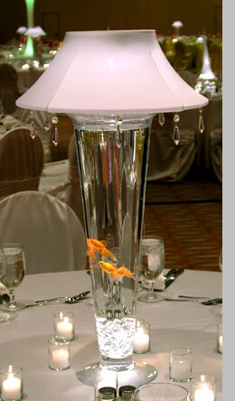 LED Large Lamp Lites White Shade with Crystals , Event Lighting