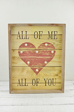 Lighted Wood Sign All of Me 12 x 15in
