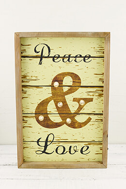 Lighted Wood Sign Peace & Love 10 x 15in