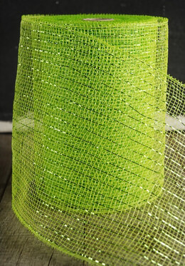 "Lime Green Sparkle Mesh 7"" wide x 60 Feet"