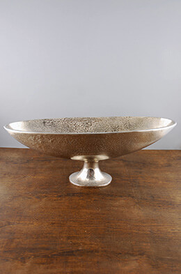 Long Oval Pedestal Bowl Silver 17.5in