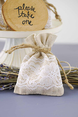 Linen Bag with White Lace 3x4in (Pack of 12)