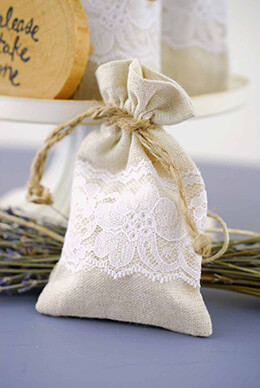 Linen Bag with White Lace 3x5in (Pack of 12)