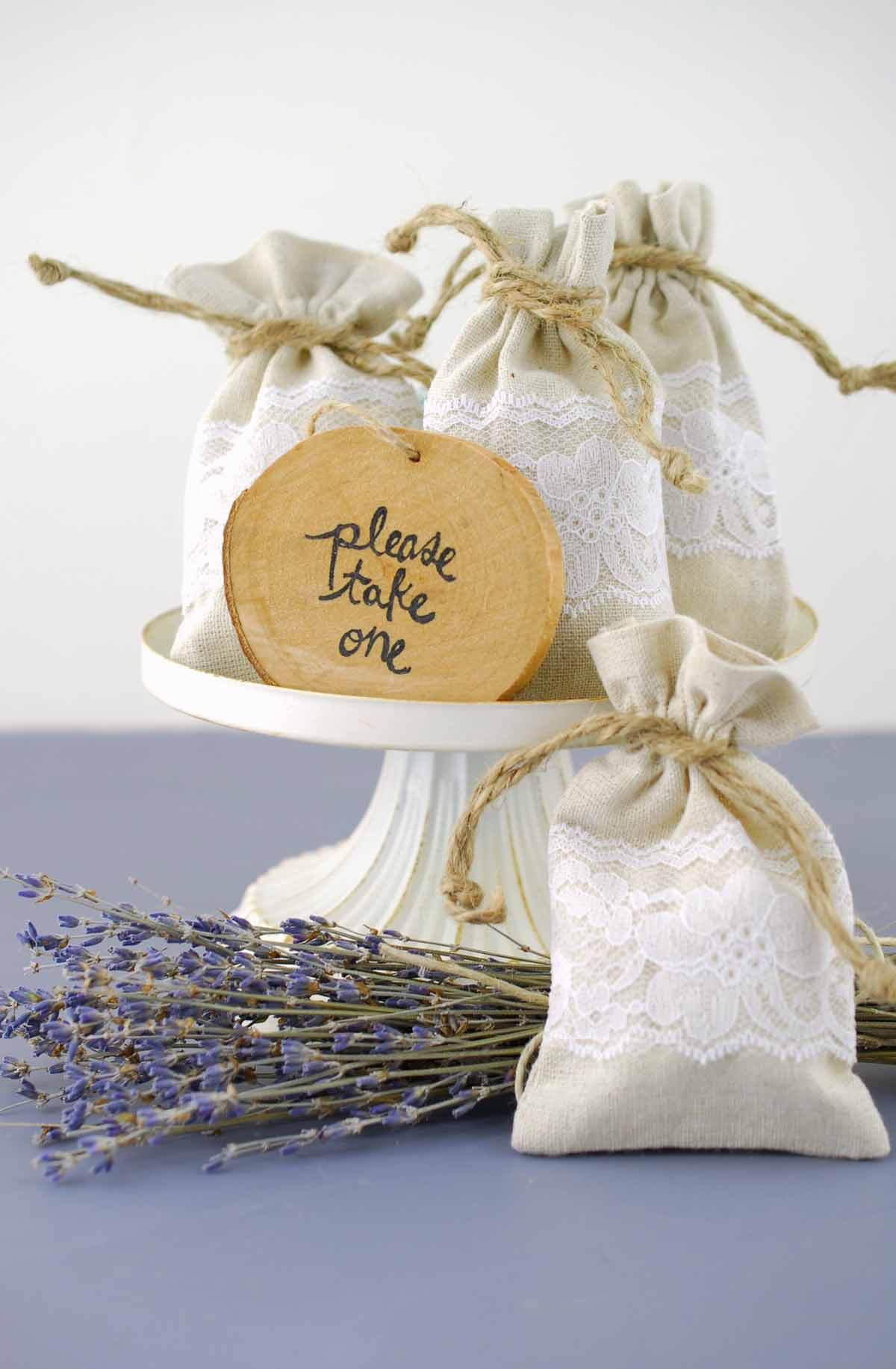 linen bag white lace 3 5 wedding favor bags 12 Linen Lace Wedding Favor Bags