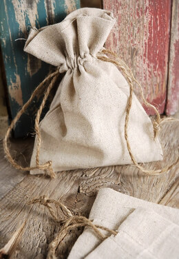 12 Small Linen Favor Bags 5x7