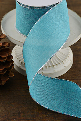 Aqua Blue Wired Linen Ribbon with Silver Edging 2.5in x 10yd, Christmas Ribbon