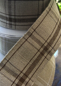 Plaid Ribbon Beige 1.5in x 17 ft