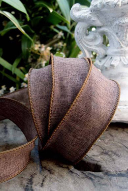 Wired Brown Linen Ribbon