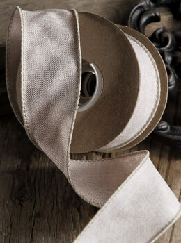Linen Ribbon Wired Ivory 10yds