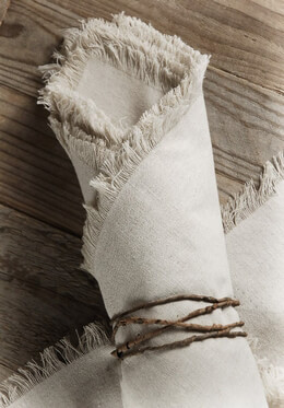 12 Linen Napkins with Fringe Edge 20in