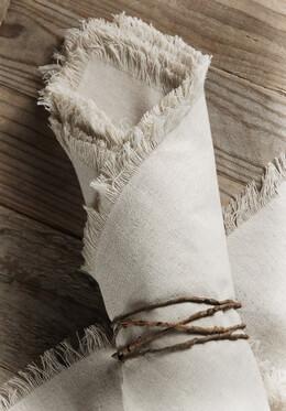12 Linen Napkins with Fringe Edge 20in