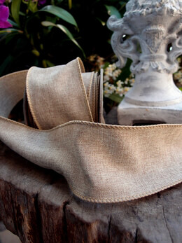 Linen Ribbon Wired Burlap 10yds