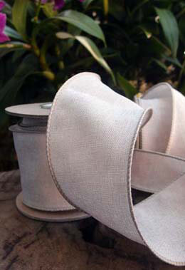 Fine Wired Linen Ribbon   2.5in