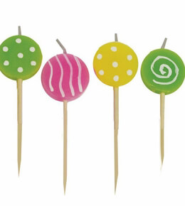 Lollipop Cupcake Candles 6 Assorted