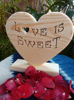 Love Is Sweet Wood Heart Sign