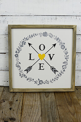Framed Plaque 14x14 Love and Arrows