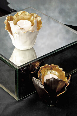 Lucien 2 Piece Porcelain Votive Set, Gold Leaf Votive Holders