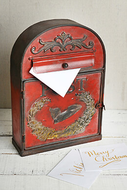 Antique Red Metal Mailbox Letter Post Box