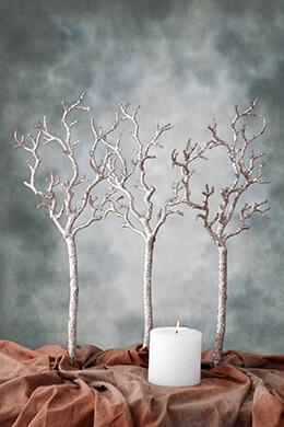 Manzanita Branch Silver Glitter 22in
