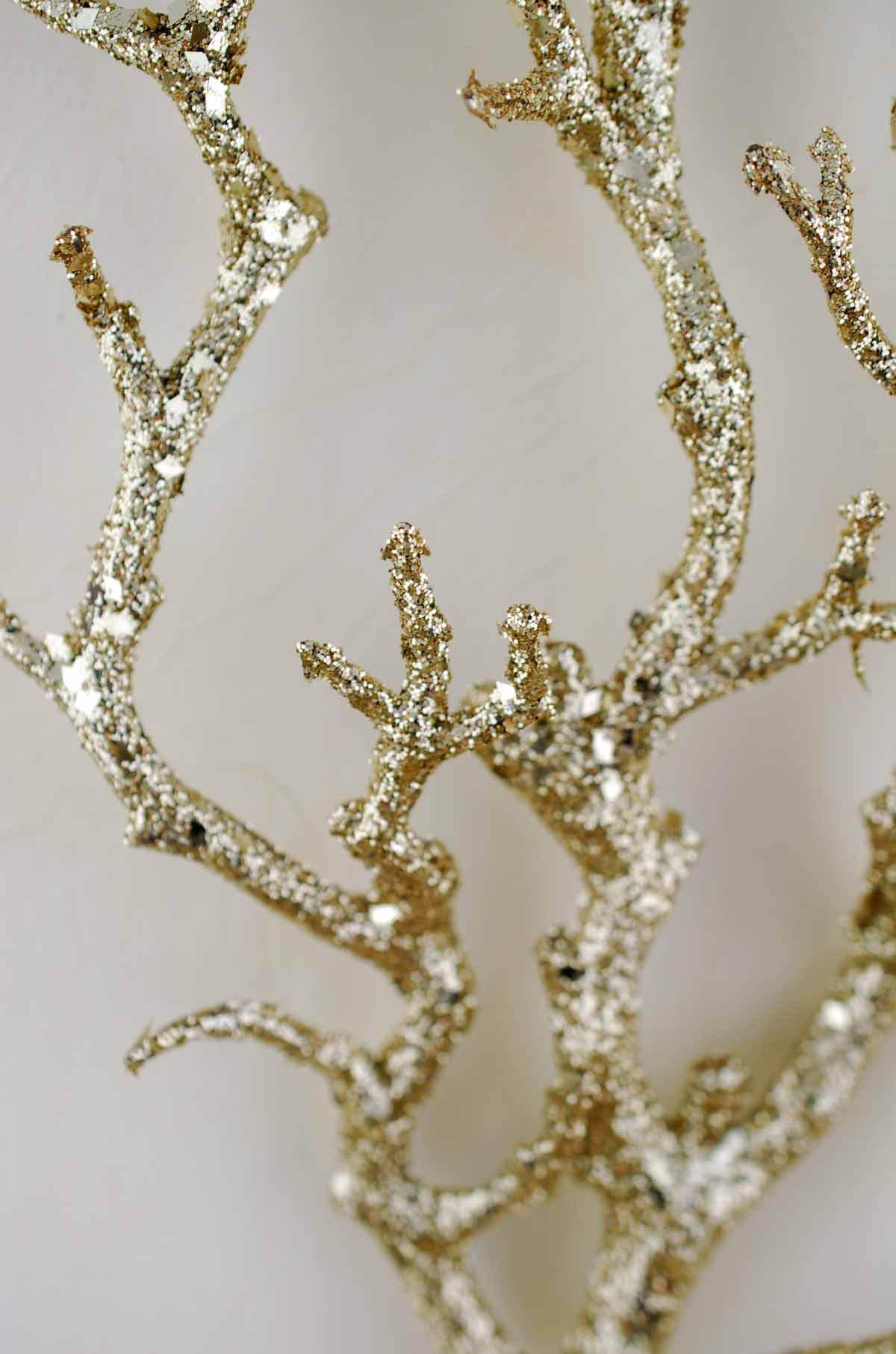 """Gold Glitter 22"""" Artificial Manzanita Branches"""