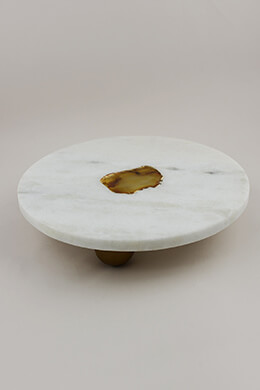 Marble Cake Plate with Agate 11.75in