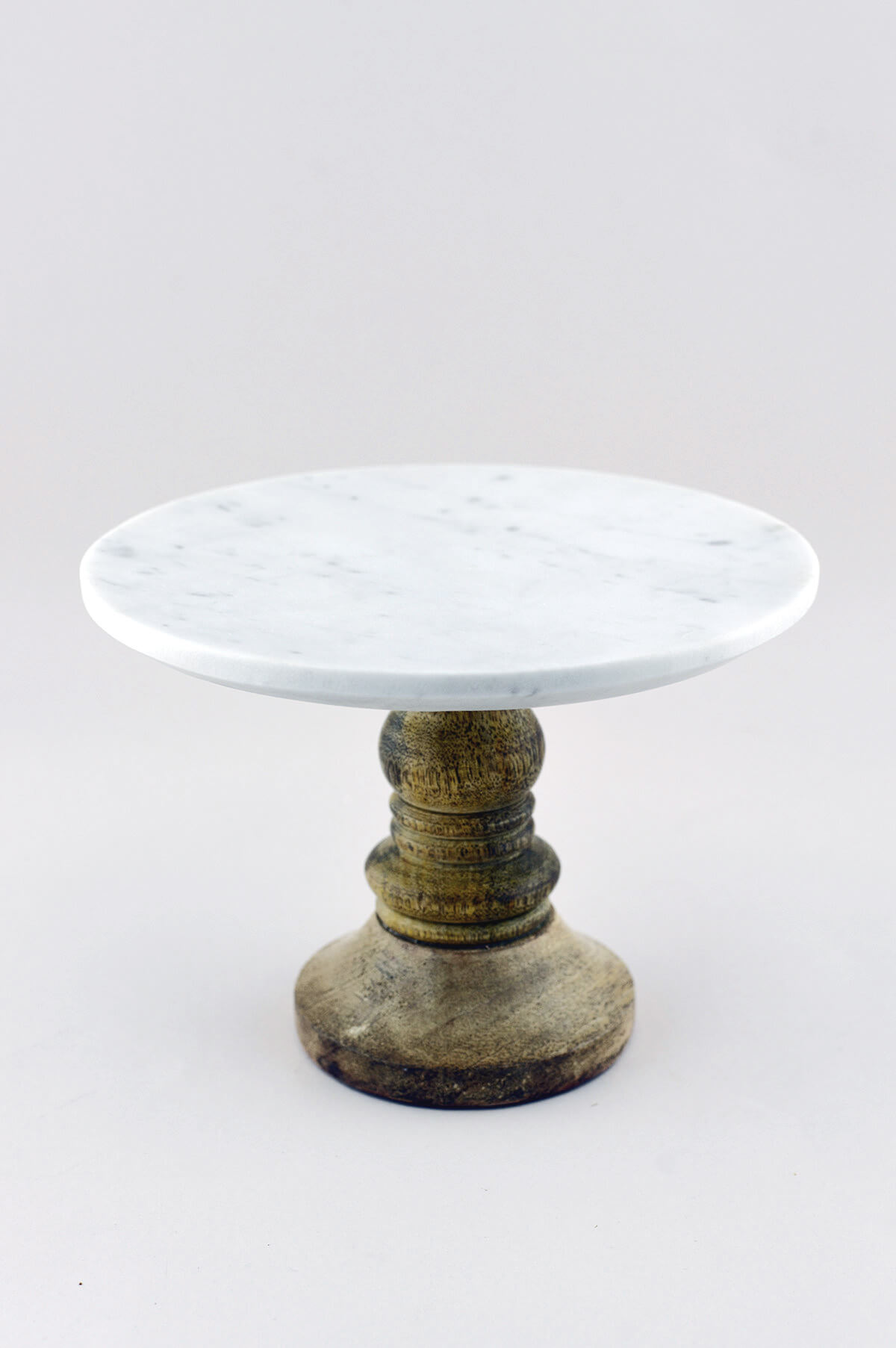 Petra Marble Dessert Stand White Marble Mango Wood 8 Inch X 5.5 . Full resolution  portrait, nominally Width 1200 Height 1805 pixels, portrait with #5C4E31.