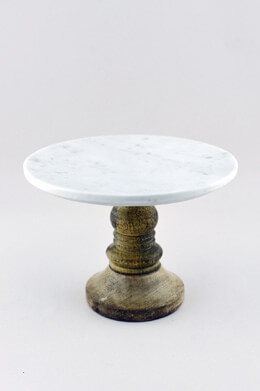Petra Marble Dessert Stand, White Marble, Mango Wood, 8 inch x 5.5""