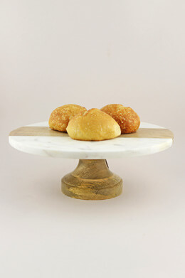 Poppy Marble and Mango Wood Cake Stand