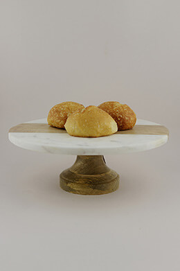 Marble & Wood Cake Stand 12in
