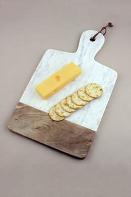 Addy Marble and Wood Cheese Board, White Marble, Mango Wood 18 inch