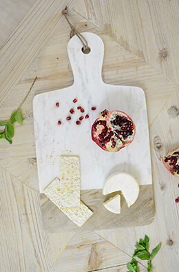 Marble & Wood Cheese Board 18.5x10.5in