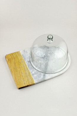 Lyna Marble and Wood Cheese Board with Cloche