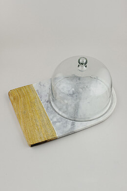 Marble & Wood Cheese Board with Cloche